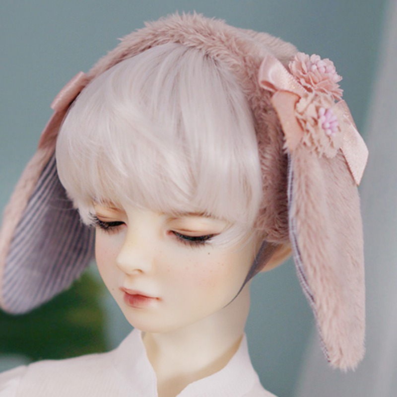 Beige rabbit hairband (down ear)